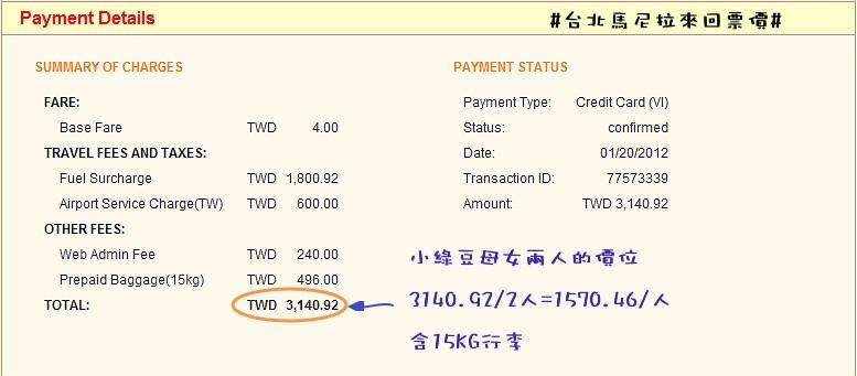 台北馬尼拉來回-小綠豆&綠豆娘票價