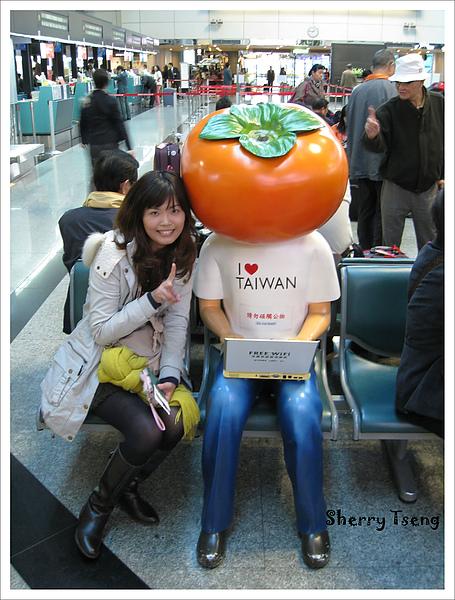 掛好行李後來跟這個有名的柿子頭拍照