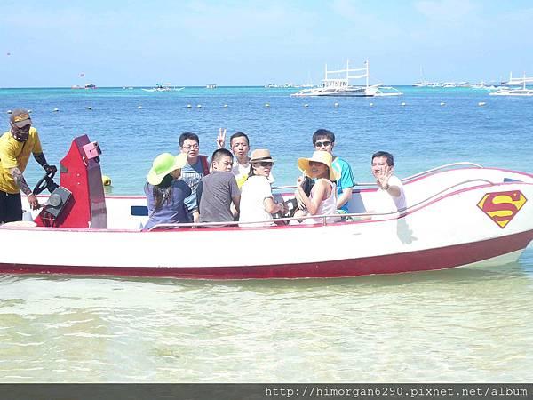 長灘島拖曳傘上船出發