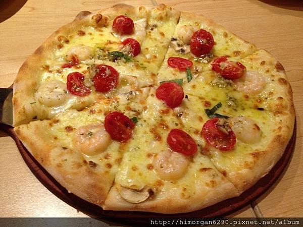 PizzaHut必勝客氛享屋-蒜香羅勒鮮蝦比薩.JPG