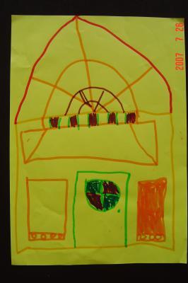 蘇州園林的趣味(7):獅子林的彩色花窗入畫來1(96.7.26)