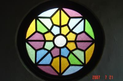 蘇州園林的趣味(7):獅子林的彩色花窗入畫來2(96.7.26)