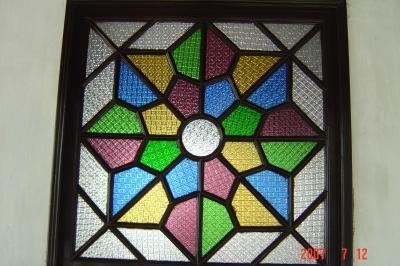 蘇州園林的趣味(7):獅子林的彩色花窗入畫來3(96.7.26)