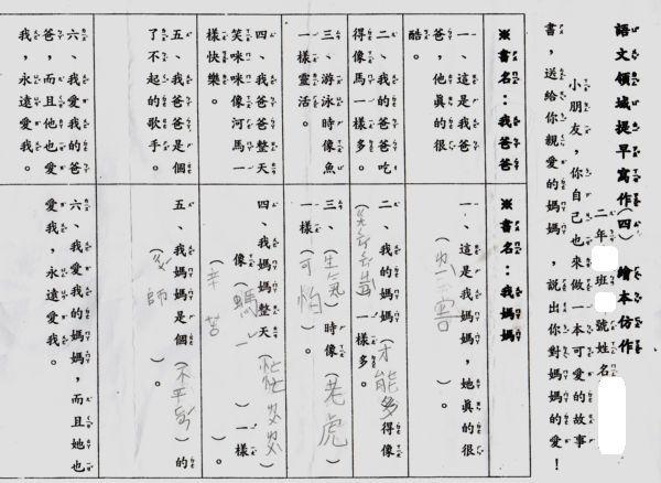 [小二]國語,提早寫作~繪本仿作(100.6.6)