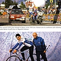 上:1994年Pantani超越粉紅衫Berzin和Indurain, 將他們拋到後頭,贏得勝利 下: Pantani和Chiappucci