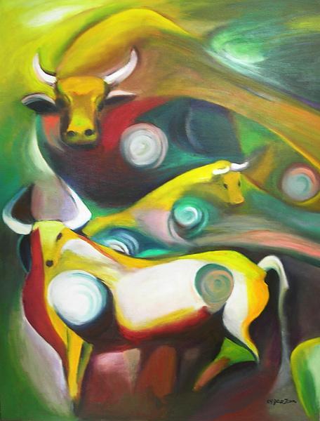 蕭耀天〈牛轉乾坤〉,2009年,油畫