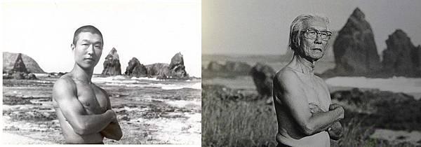 ◇左為1950年代在火燒島新生訓導處的歐陽文;右為2002年攝影家潘小俠為歐陽文在同一位置拍攝的照片。
