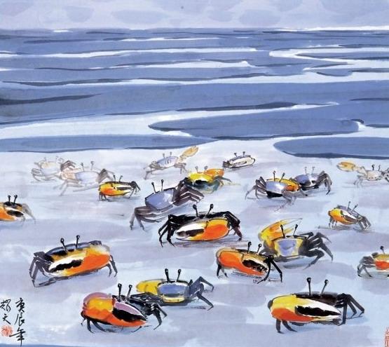 蕭耀天〈海邊〉,2000年,彩墨