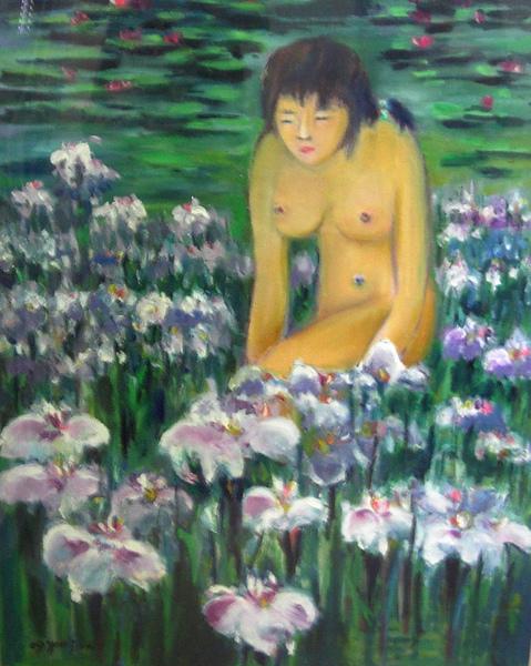 蕭耀天〈昌蒲夭夭〉,2009年,油畫