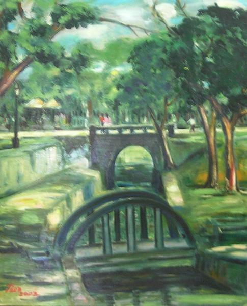 蕭耀天〈嘉義公園-日本古橋〉,2002年,油畫