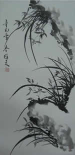 蕭耀天〈國蘭〉2001年,水墨