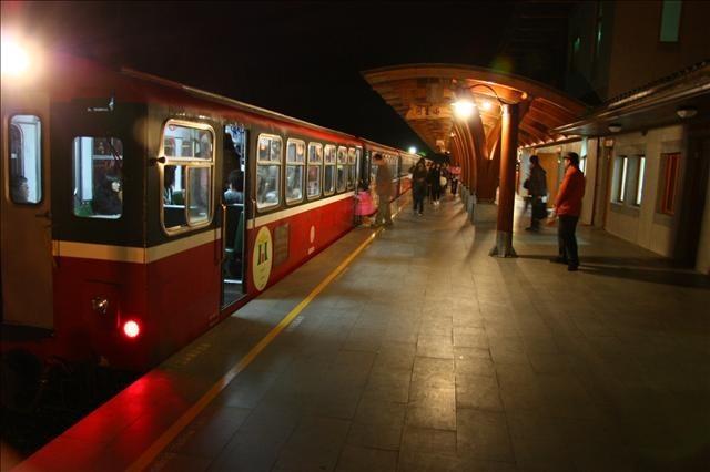 出發前的阿里山車站月台