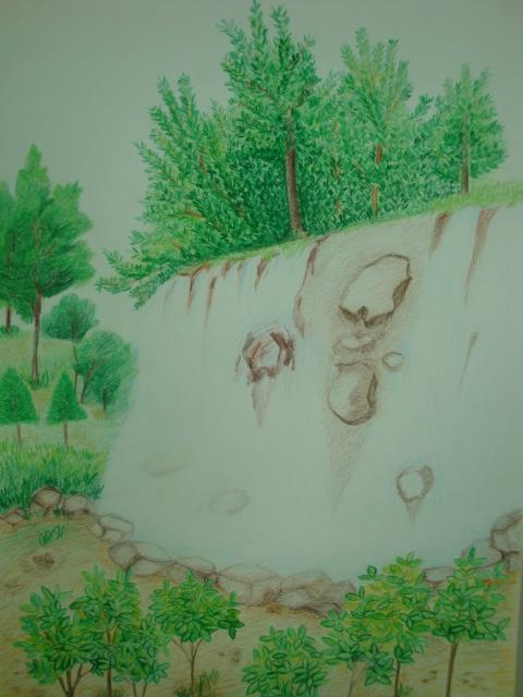 彩色素描-公園瀑布