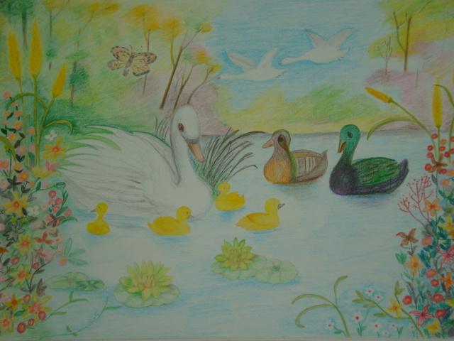 彩色素描-湖邊祕境
