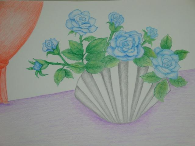 彩色素描-藍色玫瑰