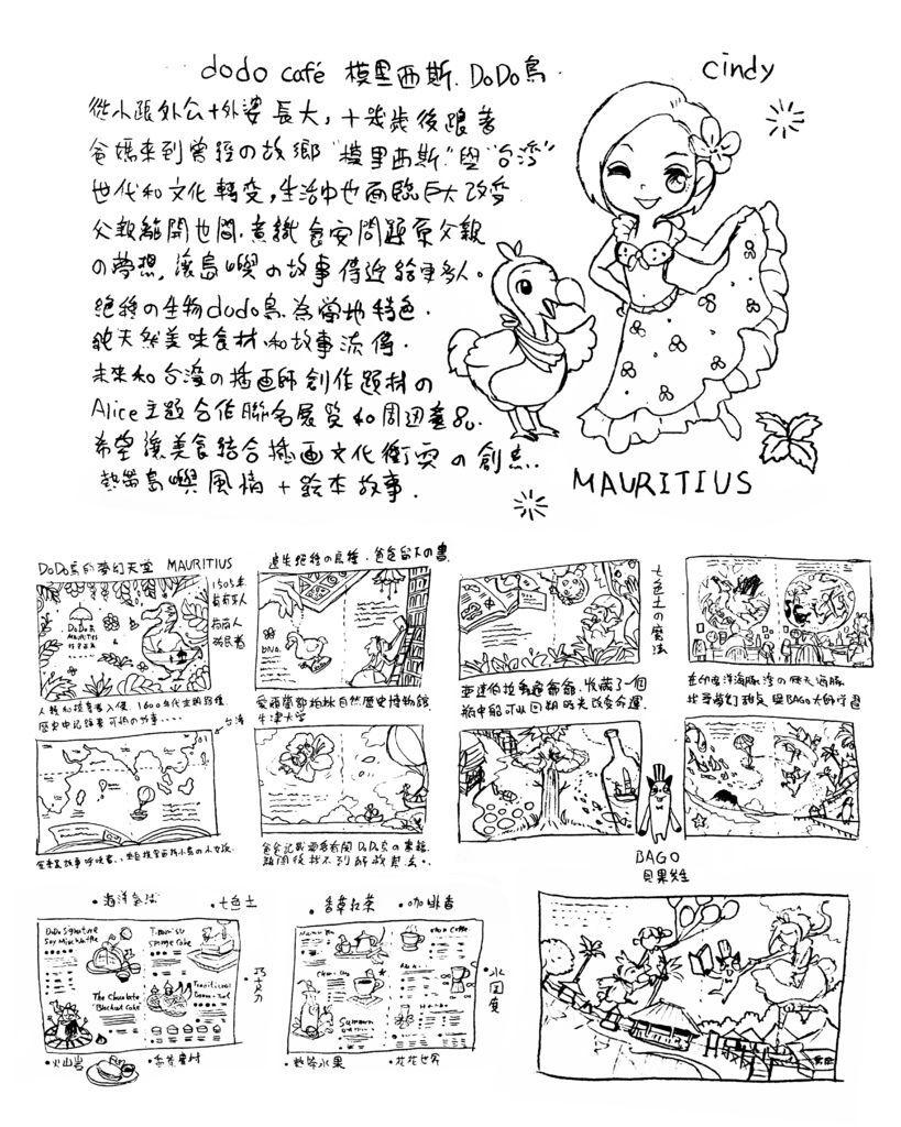 《ALICE MISA心夢少女- DODO鳥的甜點天堂》模里西斯. Mauritius By Hoelex浩理斯DODO鳥的夢幻天堂-黑白草稿40X50