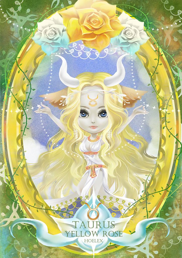 ●【12星座花語畫框系列constellation-金牛座-Yellow rose黃玫瑰-HOELEX(浩理斯) ●【金牛座 Taurus】花 語:高雅、溫柔、踏實 ●【