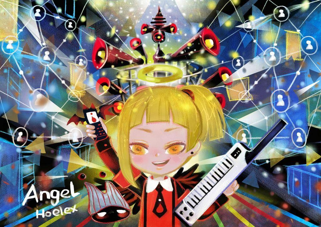 插畫繪本風-Angel黑天力-網路黑客鍵盤手-hoelex13.JPG