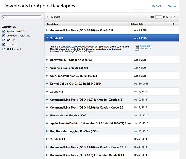 Downloads for Apple Developers