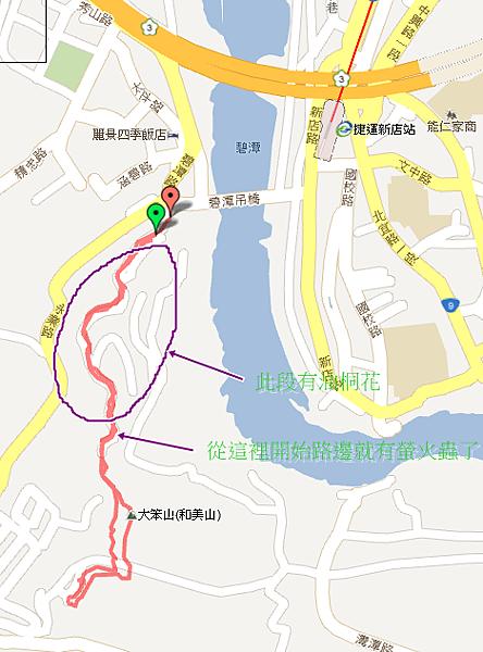 新店碧潭和美山螢火蟲路線圖03