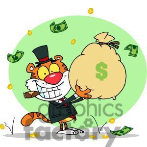 1338018-1135-Cartoon-Character-Animal-Happy-Tiger-%E8eeps-%C7-Bag-Of-Dollars