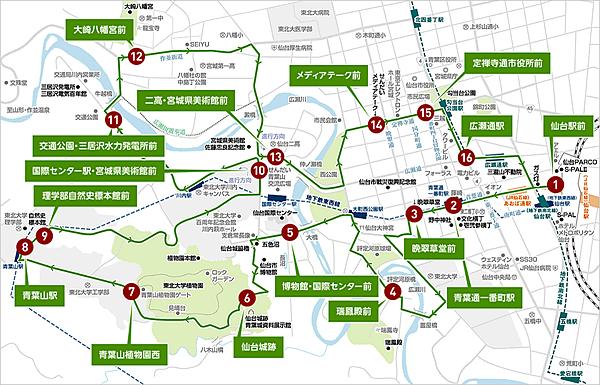 仙台觀光巴士/地鐵一日券 Loople Sendai使用區域路線