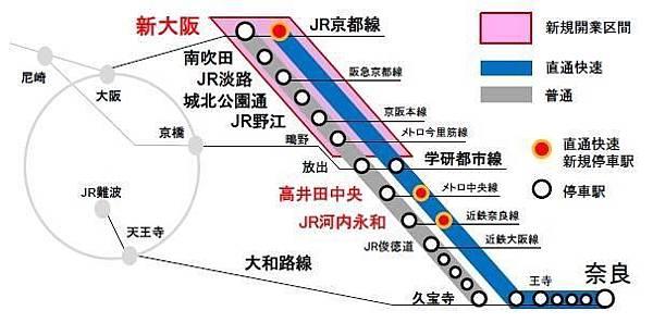 おおさか東線列車行經的路線