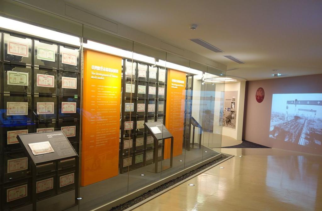 股票博物館承廳股票牆