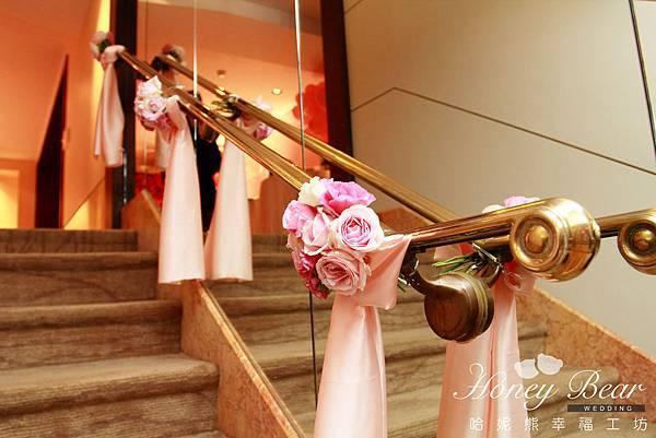 哈妮熊-楓中情緣婚禮佈置-手扶梯迎賓區@國賓