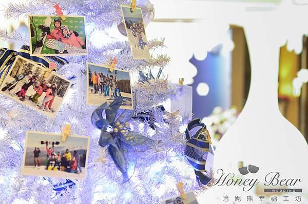 哈妮熊滑雪婚禮佈置-文泰&彥如 照片聖誕樹@君悅