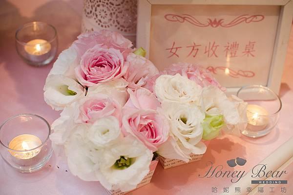 哈妮熊粉紅色甜美風會場佈置-收禮桌杯子花