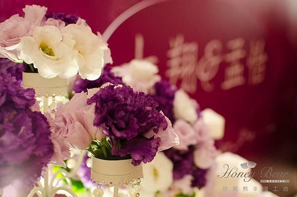 哈妮熊紫色宮廷風婚禮佈置-3127
