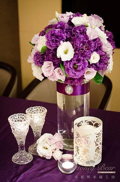 哈妮熊紫色宮廷風婚禮佈置-3132