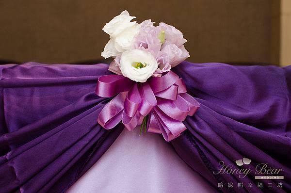 哈妮熊紫色宮廷風婚禮佈置-3147