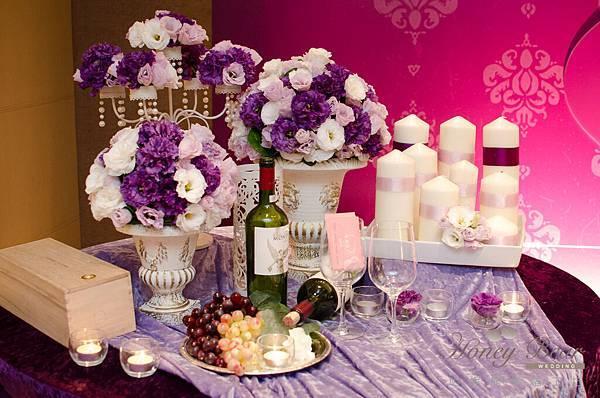 哈妮熊紫色宮廷風婚禮佈置-3171