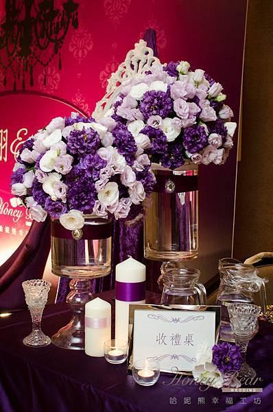 哈妮熊紫色宮廷風婚禮佈置-3181