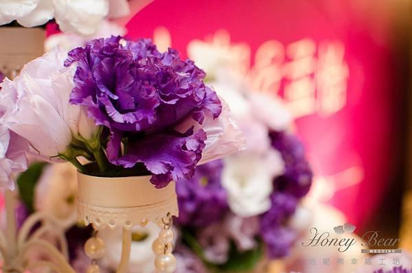 哈妮熊紫色宮廷風婚禮佈置-3196