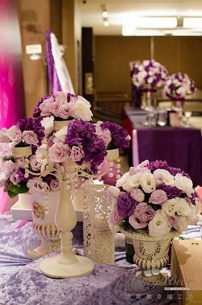哈妮熊紫色宮廷風婚禮佈置-3201