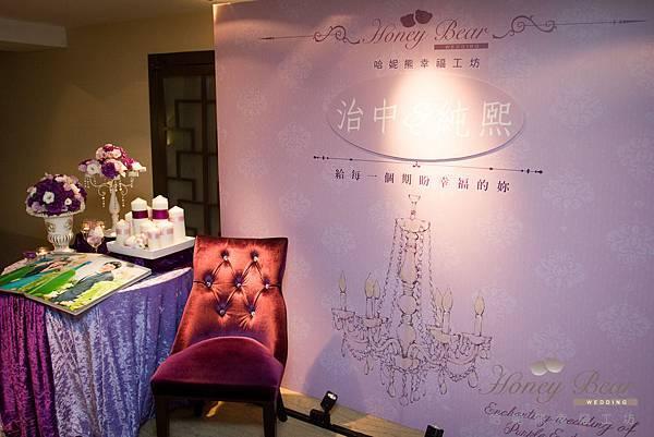 哈妮熊紫色宮廷風婚禮佈置-5010