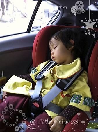 玩累了,回家車上睡得好熟。