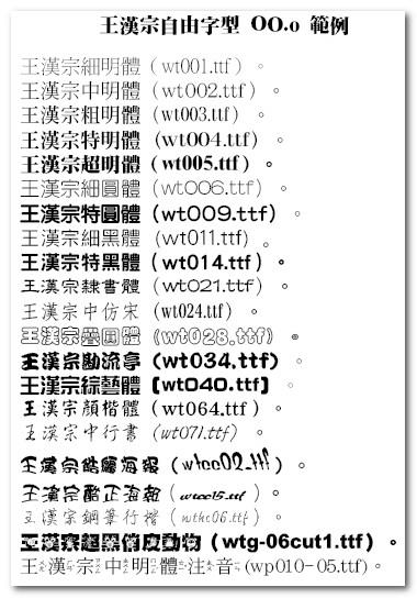 王漢宗自由字型-1