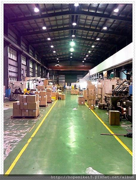 射出廠,1000W水銀燈改250W陶瓷複金屬燈,節電75%,照度100Lux >>>200Lux