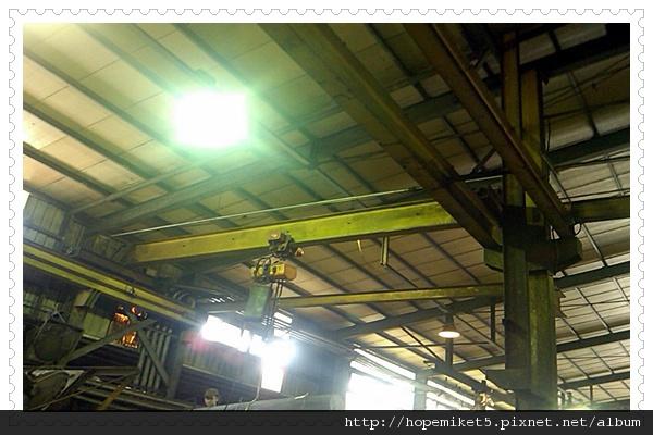 鋼鐵廠,1000W水銀燈燈改250W陶瓷複金屬燈,節電75%,照度150Lux >>>200Lux