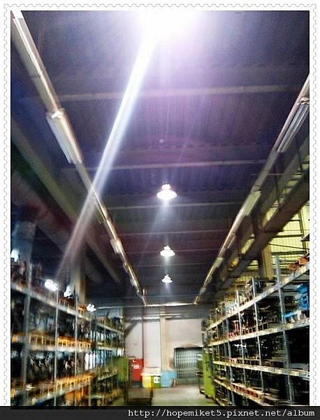 機械廠,T8日光燈40WX2 5組改150W陶瓷複金屬燈1組,節電60%,照度80Lux >>>200Lux