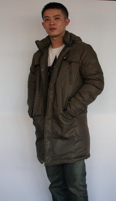 #03008 男長版羽絨外套 售價4280元 尺寸:M~3XL, 顏色:黑, 灰綠, 咖