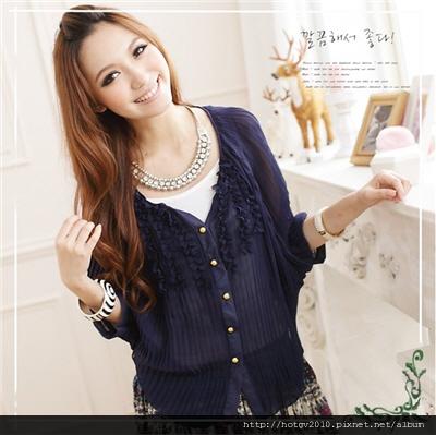日本狂賣NO1.金釦雪紡上衣[深藍]$590