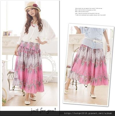 圖騰色彩平口裙[粉]$590