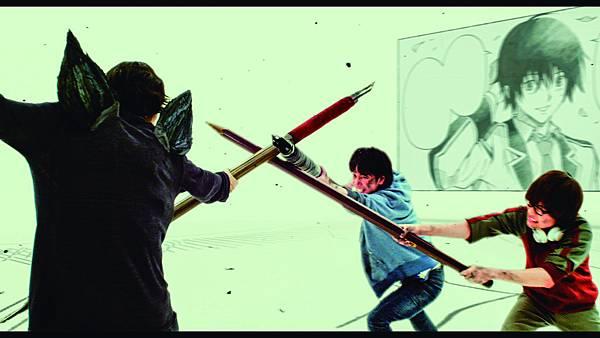 【爆漫王】劇照:以CG方式呈現片中三人競爭橋段.jpg