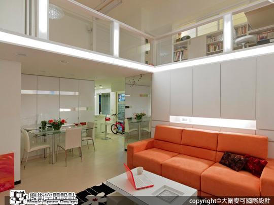 [魔術空間設計]室內設計作品-大衛麥可-張紫嫺-純白中注入熱情,打造時尚鮮明挑高樓中樓