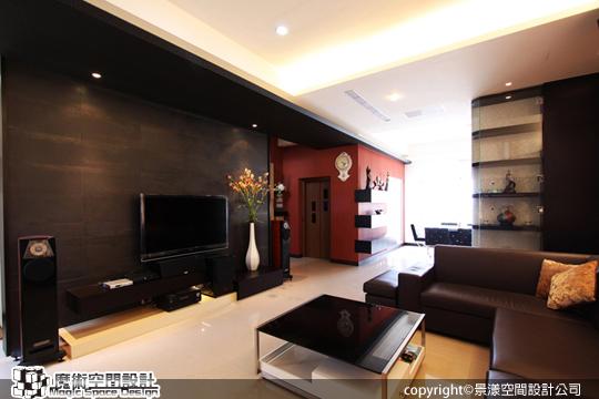 [魔術空間設計]室內設計作品-景漾空間設計公司-許沛濬-簡約時尚風 紅與黑雙主色,讓簡潔空間更立體有層次